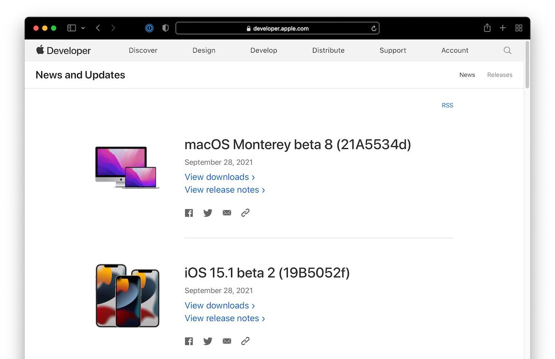 macOS Monterey beta 8 (21A5534d) September 28,2021