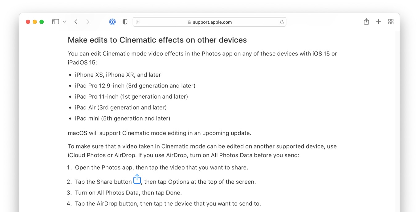 macOS will support Cinematic mode editing in an upcoming update