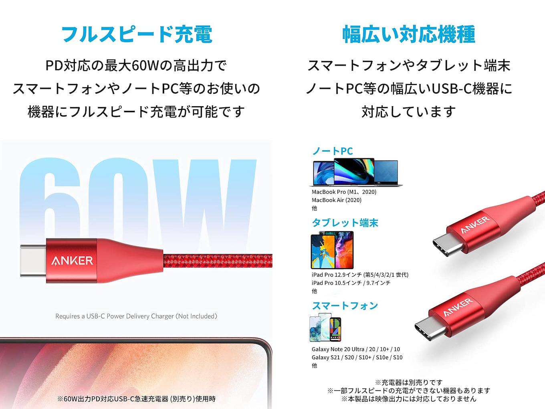Anker PowerLine+ II USB-C & USB-C ケーブル
