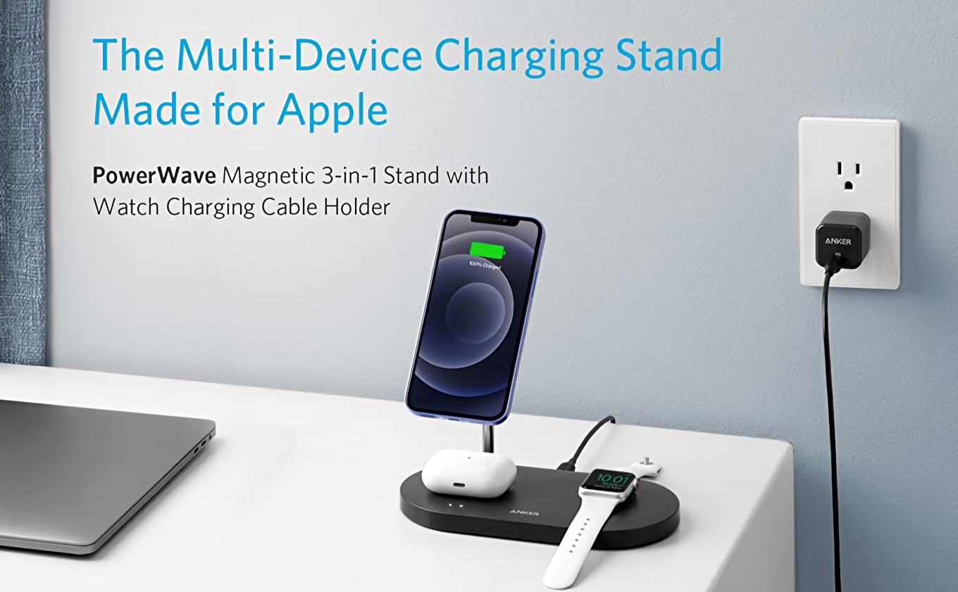 Anker PowerWave Magnetic 3-in-1 Stand with Watch Charging Cable Holder