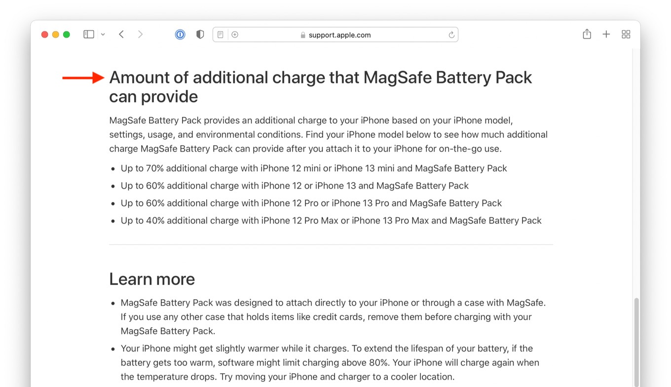 Amount of additional charge that MagSafe Battery Pack can provide