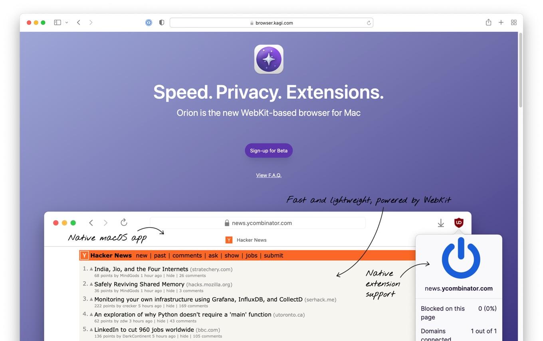 Orion WebKit-based browser for Mac