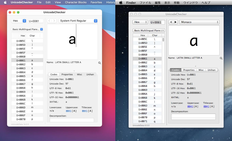 UnicodeChecker on macOS 11 Big Sur and OS X 10.8 Mountain Lion