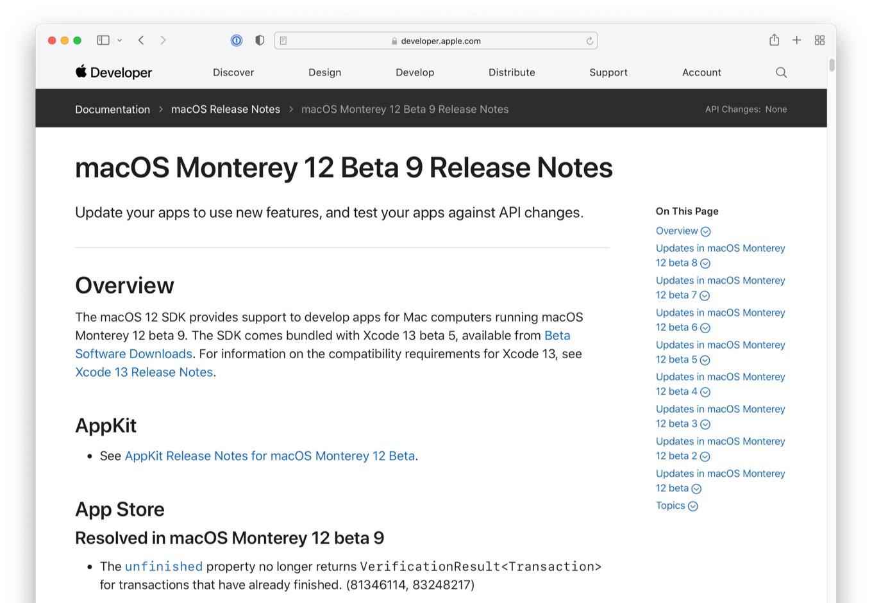 macOS Monterey 12 Beta 9 Release Notes